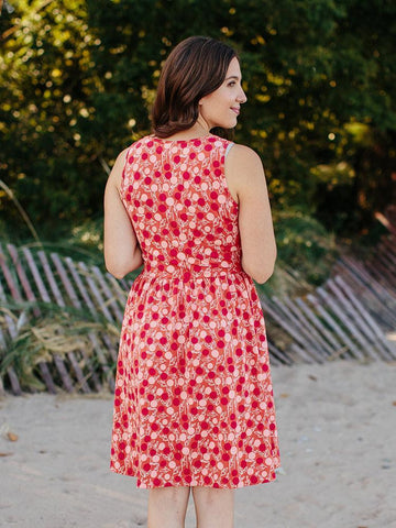 Summer Sonnet Dress in Peach Berry Print by Mata Traders