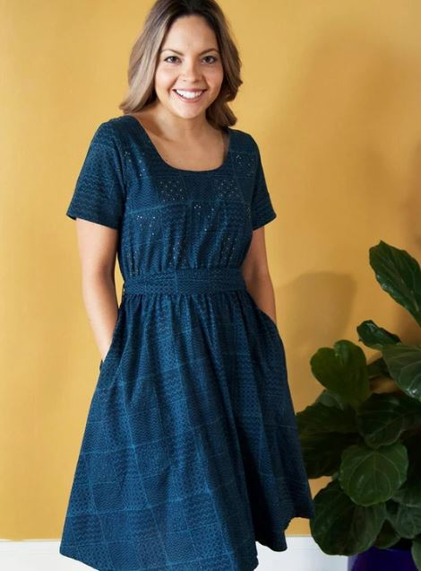 Reversible Stitch Dress in Dusk by Mata Traders