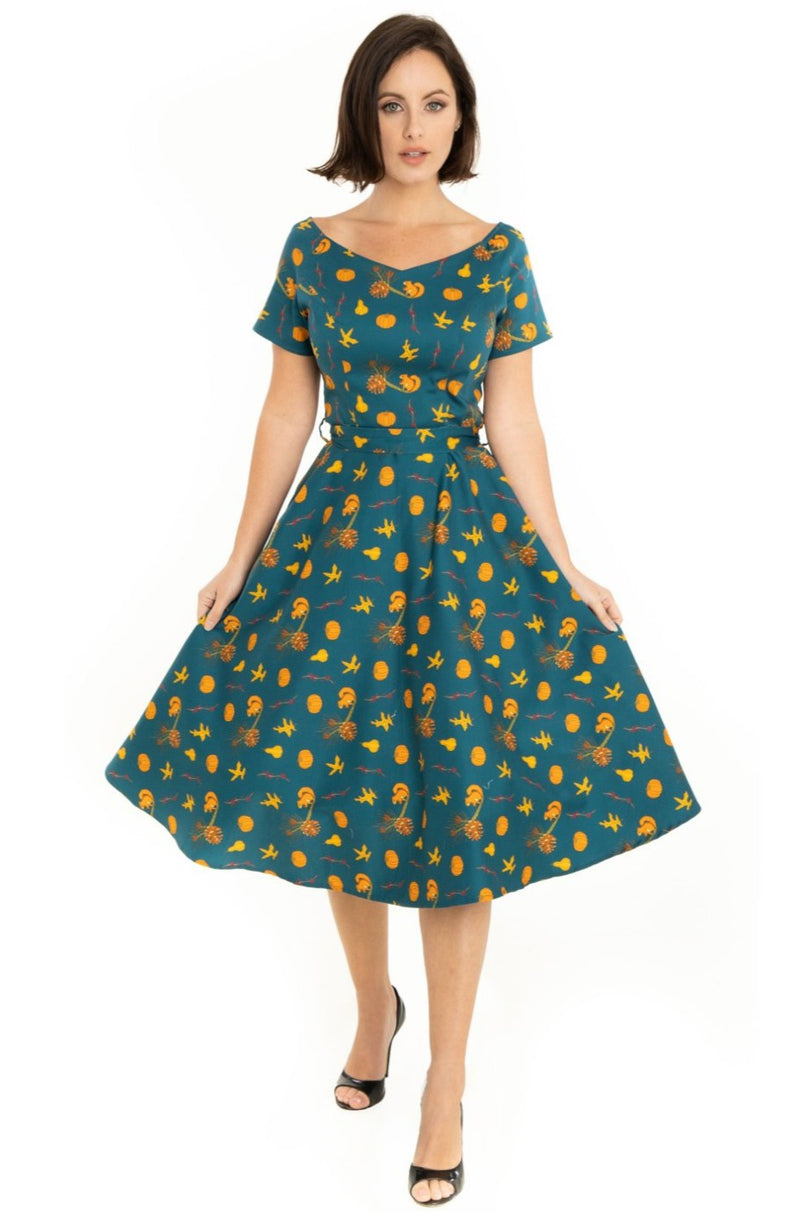 Bella Dress in Autumn Print by Miss Lulo