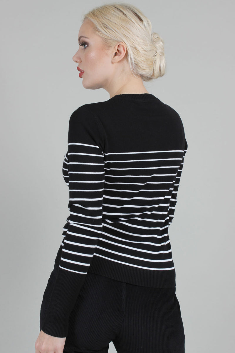 Bethsy Black and White Striped Sweater by Voodoo Vixen