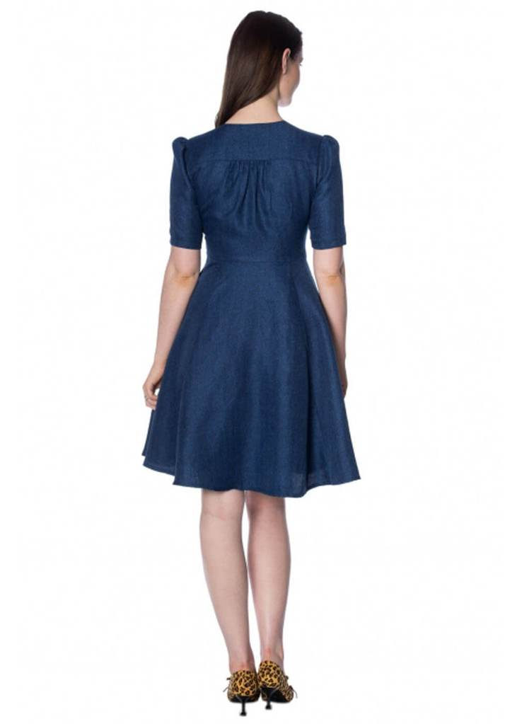 Secretary Swing Dress in Denim by Banned