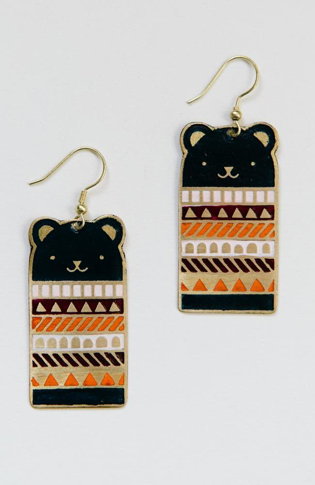 Bear Necessities Earrings in Blue by Mata Traders