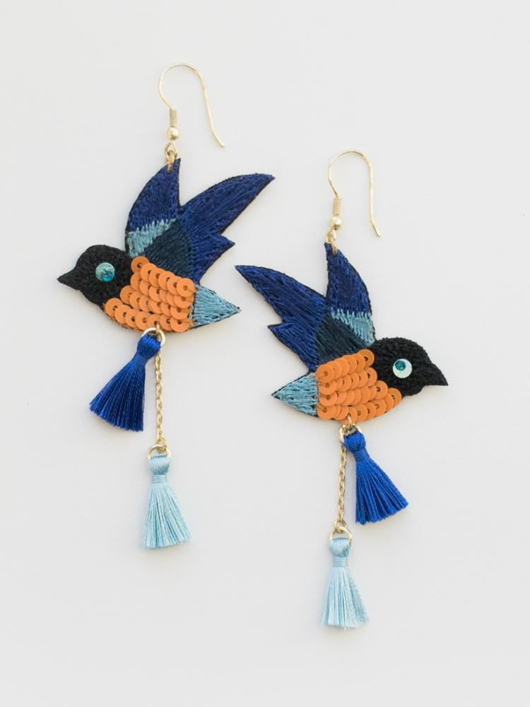 Blue Bird Earrings by Mata Traders