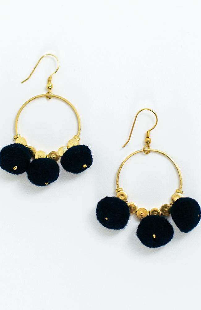 Dangling Pom Earrings in Navy by Mata Traders