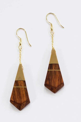 Faceted Wood Earrings by Mata Traders
