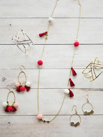Fiesta Pom Earrings in Red by Mata Traders