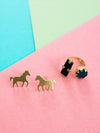 Unicorn Stud Earrings in Gold by Mata Traders