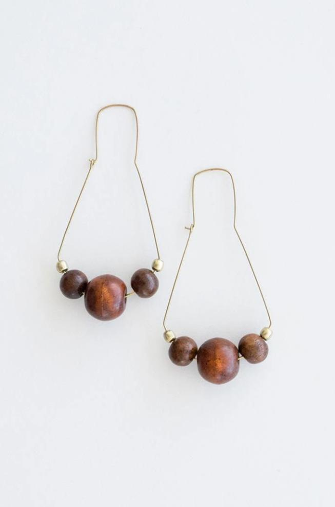 Wooden Triad Earrings by Mata Traders