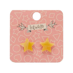 Star Stud Earrings in Yellow Marble by Erstwilder