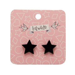 Star Stud Earrings in Solid Black by Erstwilder