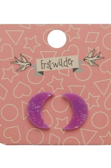Purple Glitter Crescent Earrings by Erstwilder
