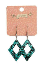 Teal Diamond Glitter Earrings by Erstwilder