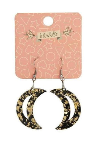Gold Crescent Moon Chunky Glitter Earrings by Erstwilder
