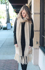 Ivory Chunky Tassel Scarf with Pockets