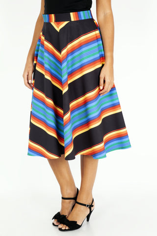 Evelyn Stripe Circle Skirt by Voodoo Vixen