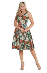 Green V-Neck Dress in Orange 60's Floral by Eva Rose