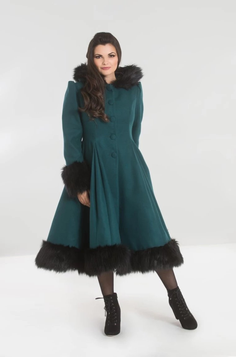 Elvira Hooded Coat in Dark Green by Hell Bunny