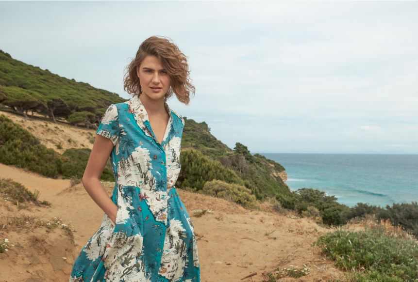 Hailey Dress in Golden State by Emily & Fin