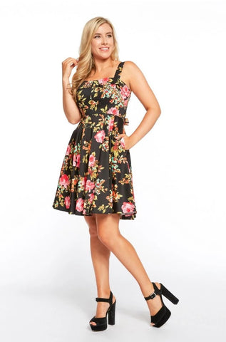 Black & Pink Floral Tie-Back Dress by Eva Rose