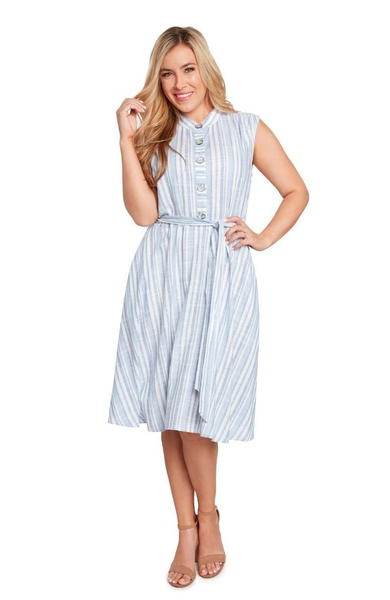 a5e912a97 Blue & White Striped Linen Dress by Eva Rose – Modern Millie Shop