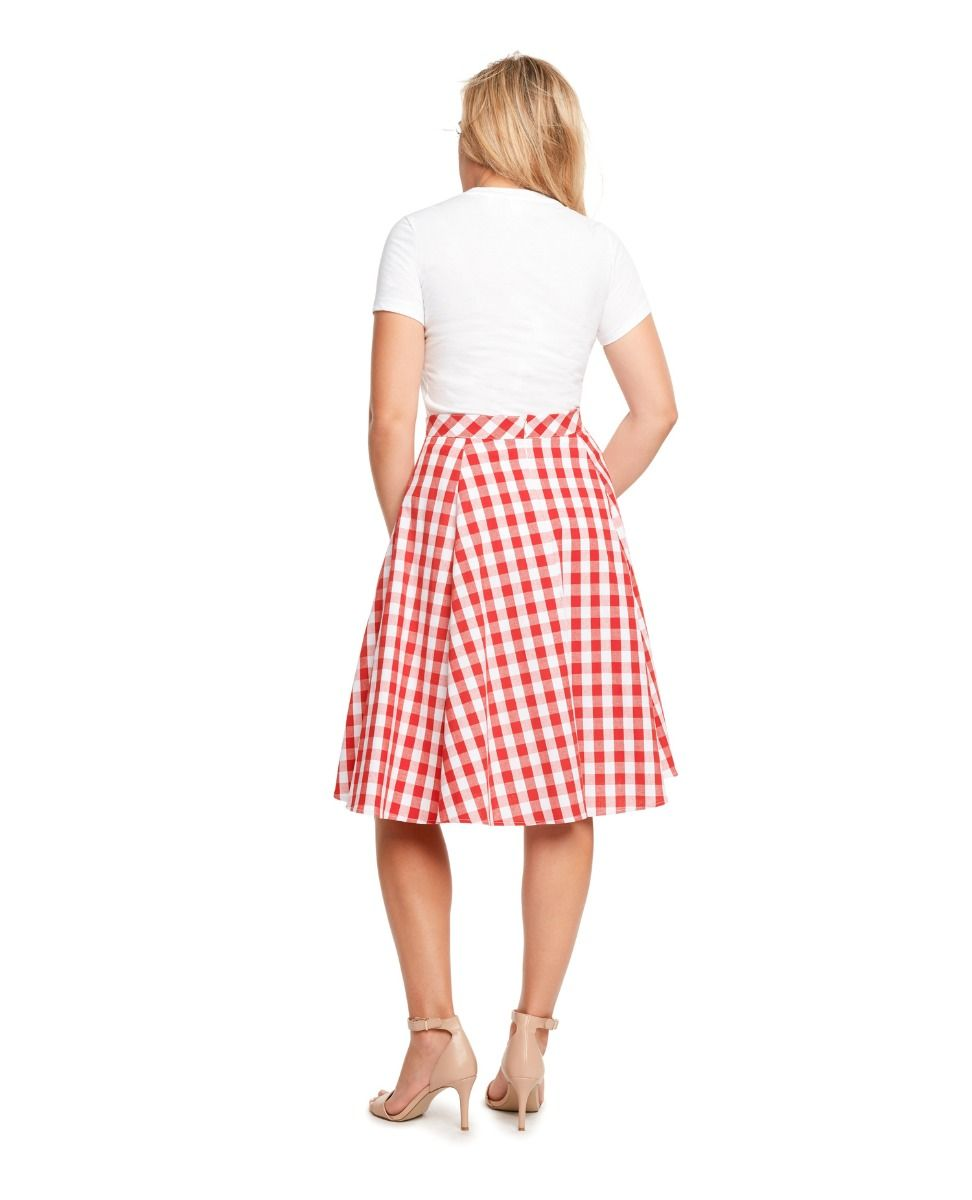 Gingham Skirt in Fuchsia & White by Eva Rose