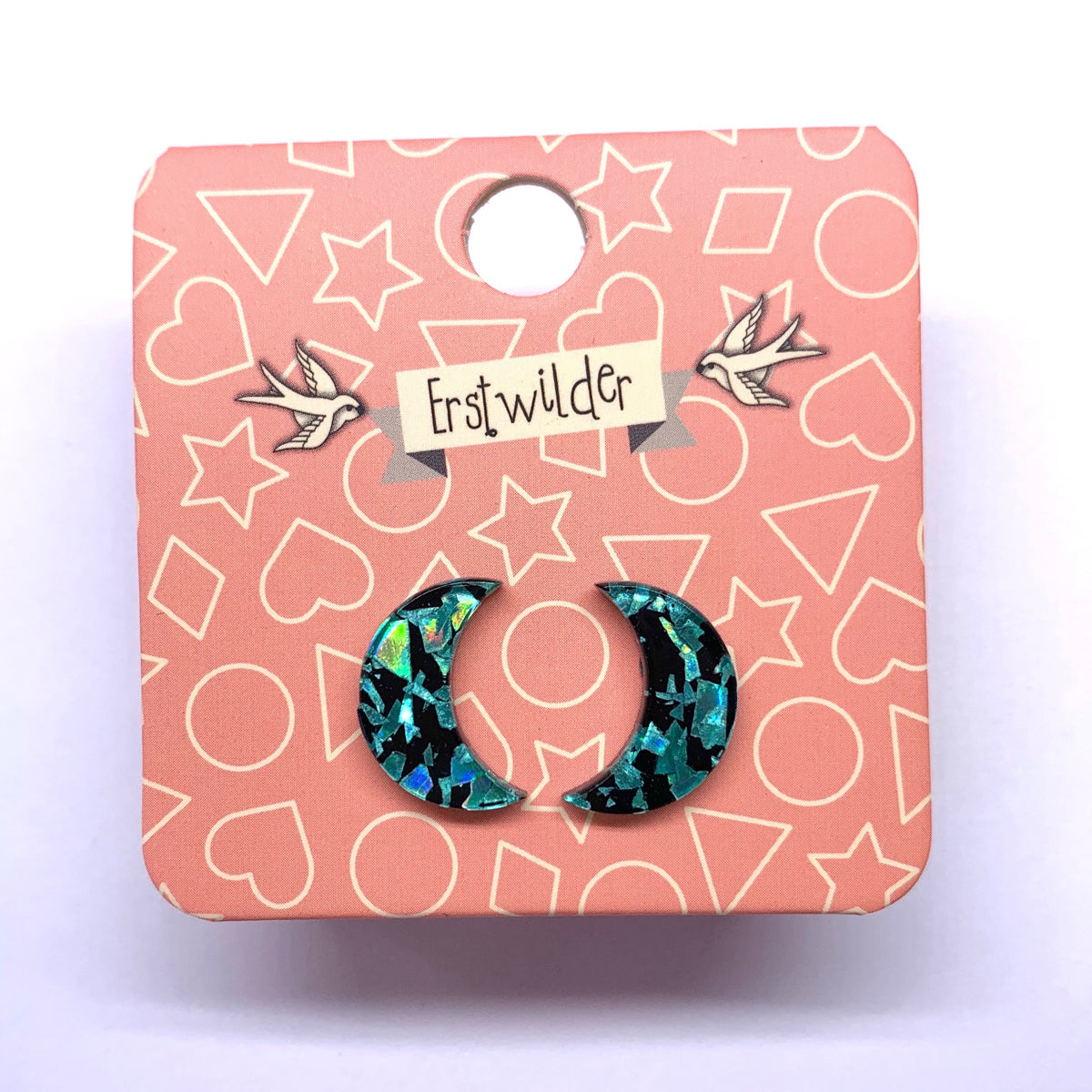 Teal Chunky Glitter Crescent Earrings by Erstwilder