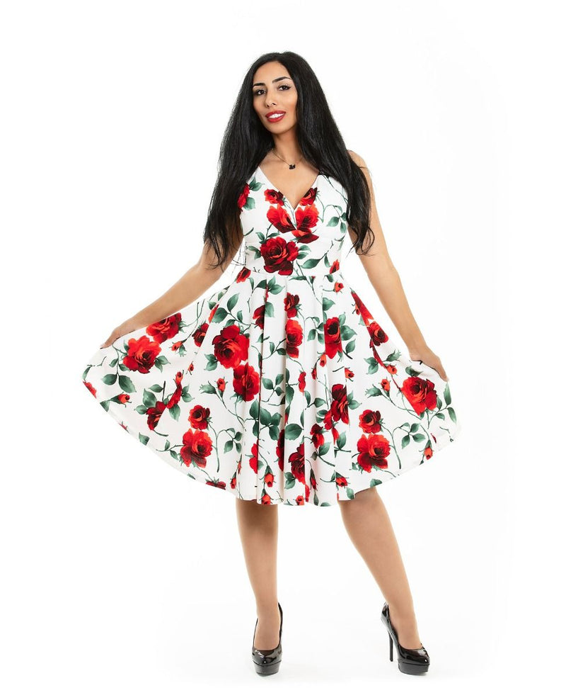 Pleated Bust Dress in White Rose Floral by Eva Rose
