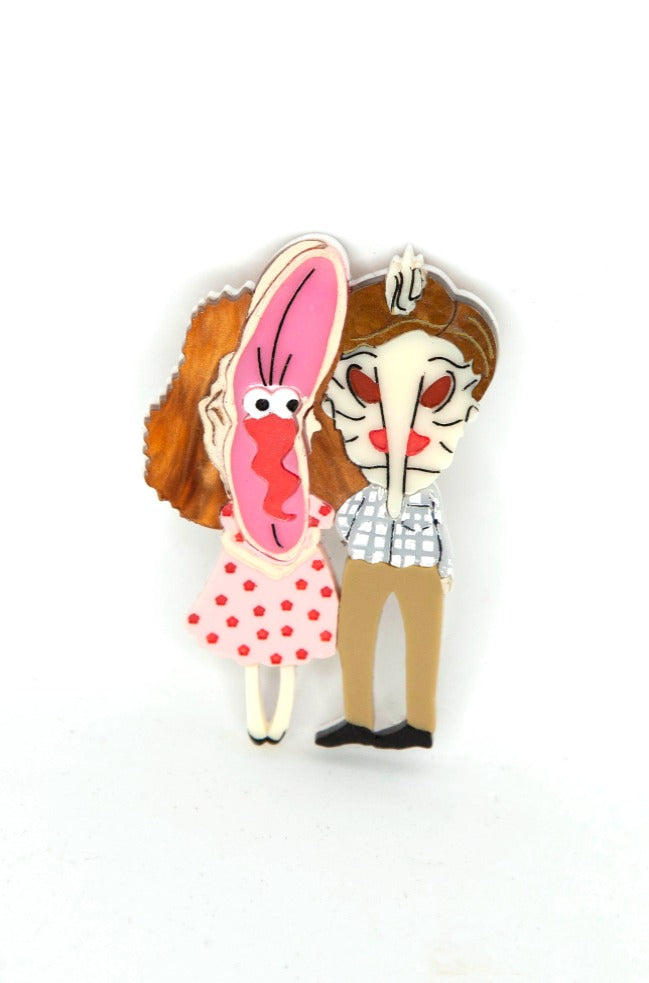 Beetlejuice Barbara and Adam Brooch by Daisy Jean Florals
