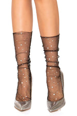 Black Star Tulle Anklet Socks