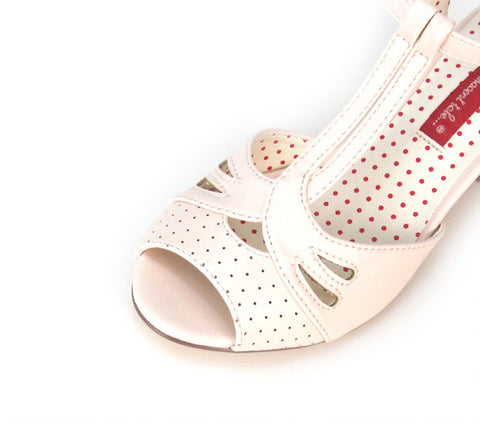 Reanna Peep Tie Heels in Blush By B.A.I.T.