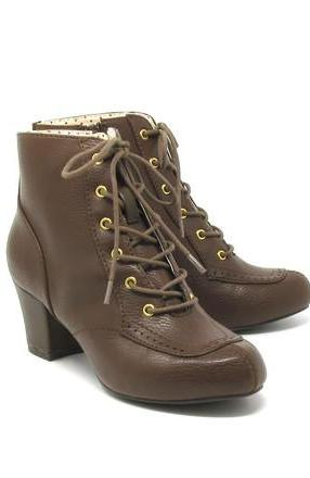 Razzle Booties in Brown by B.A.I.T.