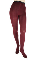 Foot Traffic Burgundy Combed Cotton Tights