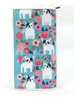 Floral French Bulldog Wallet Blue