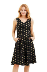 Black Bee Print Dress by Eva Rose