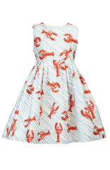 Light Blue Lobsters Martha Kids Dress by Palava