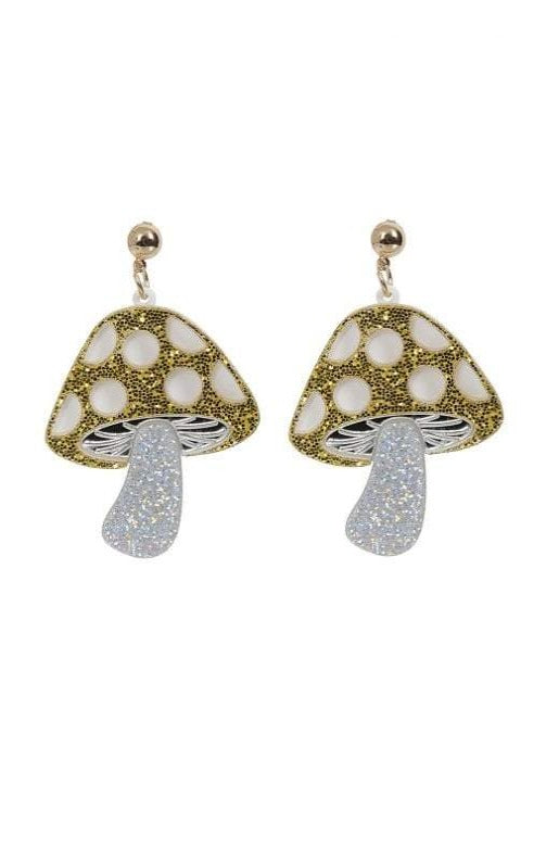 Glitter Mushroom Earrings by Collectif