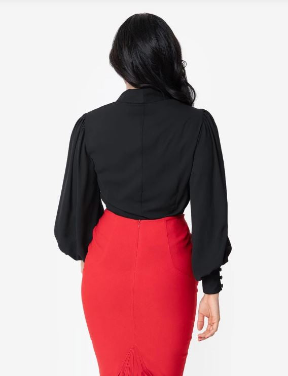 Black Crepe Tie-Neck Gwen Blouse