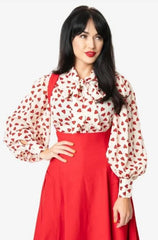 Cream & Red Heart Print Gwen Blouse by Unique Vintage