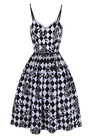 Hauntley Harlequin Bat Dress by Hell Bunny