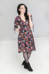 Heron Dress in Burgundy and Navy by Hell Bunny