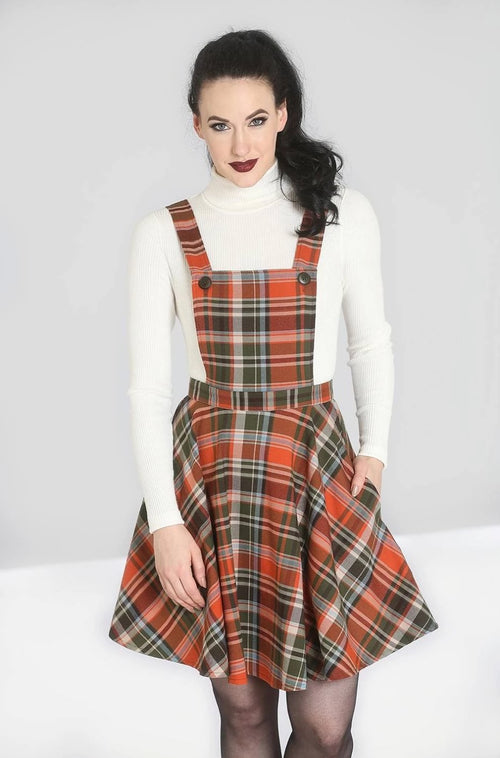 Oktober Pinafore Dress in Orange Plaid by Hell Bunny