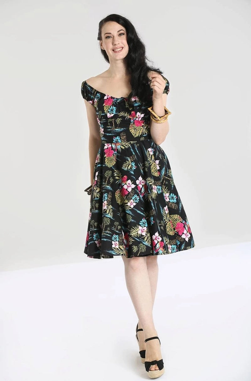 Noa Noa Tropical Dress in Black by Hell Bunny