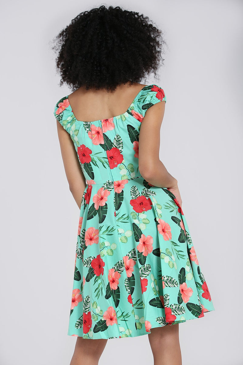 Moana Tropical Dress in Mint by Hell Bunny