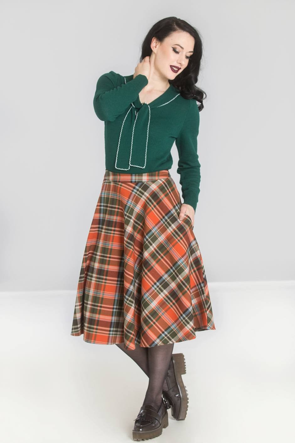 Oktober Circle Skirt in Orange Plaid by Hell Bunny