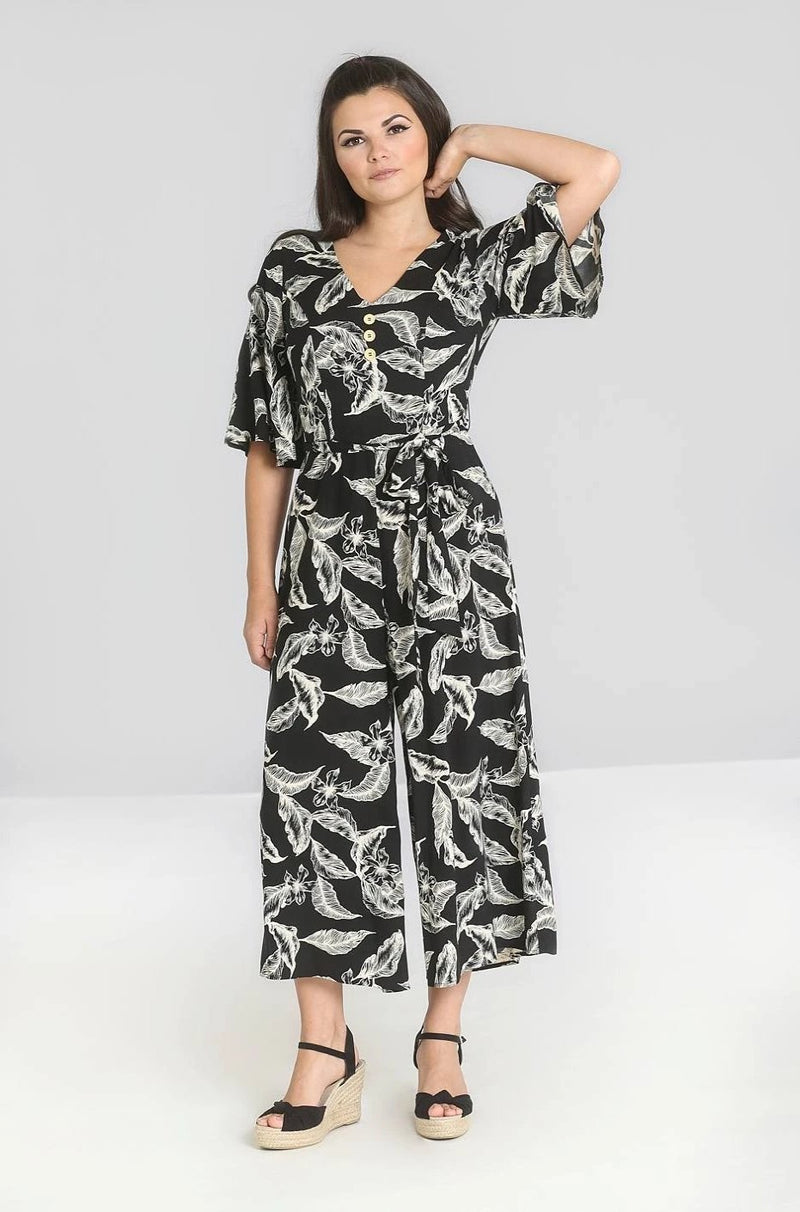 Chiara Jumpsuit in Black Tropical Floral by Hell Bunny