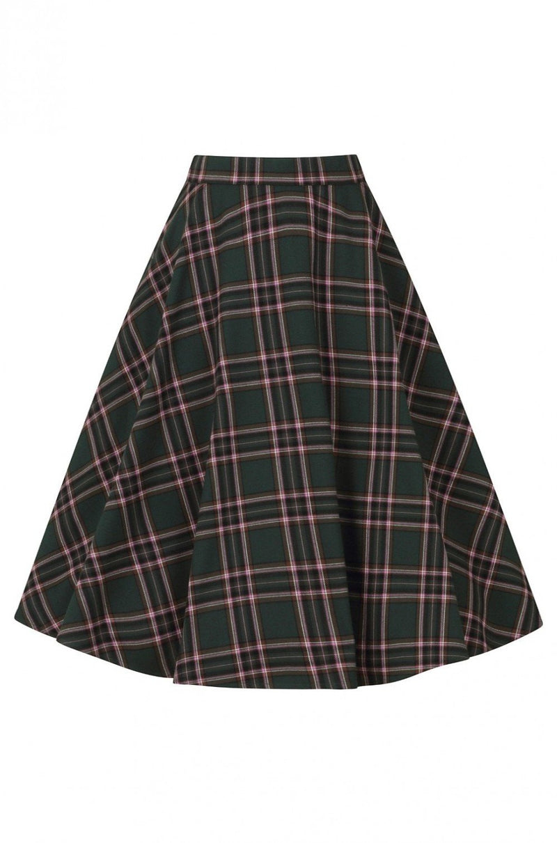Miles Green and Lavender Plaid Skirt by Hell Bunny