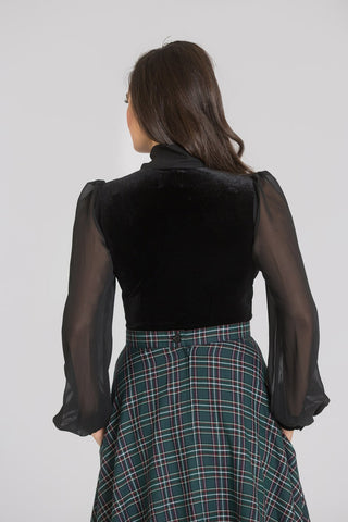 Gabriella Velvet Bow Top by Hell Bunny