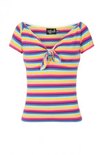 Harmony Top in Rainbow Stripe by Hell Bunny