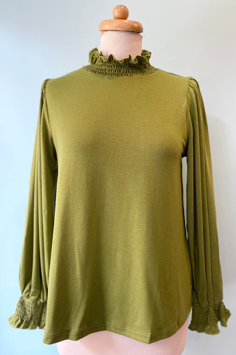 Green Ruffle Mock Neck Top by Compania Fantastica