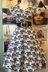 White & Black Eye Print Shirt Dress by Teeberry & Weave